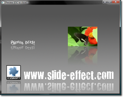 Reflection example in slide effect preview window